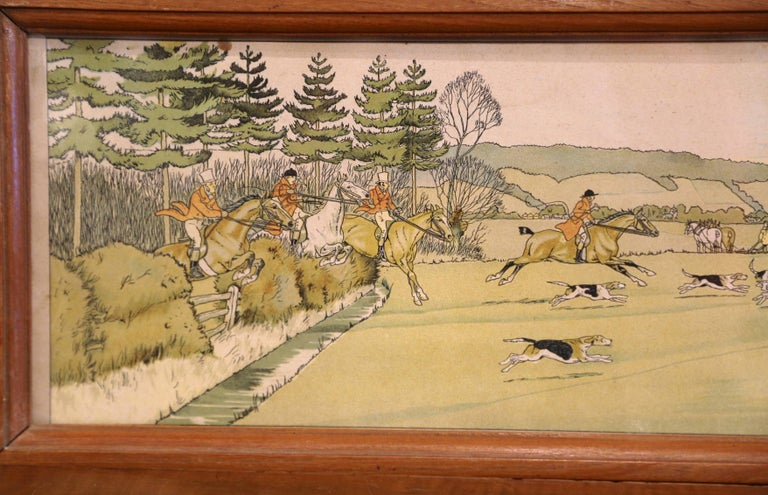 Pair of 19th Century English Painted Hunt Scenes Watercolors in Walnut Frames For Sale 2