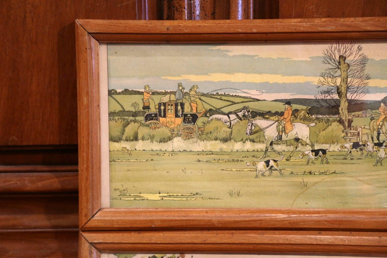 Pair of 19th Century English Painted Hunt Scenes Watercolors in Walnut Frames For Sale 3