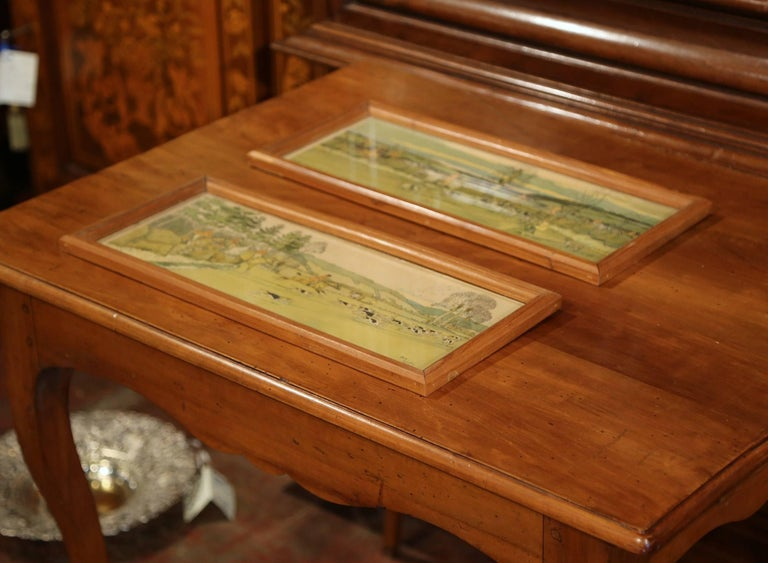 Pair of 19th Century English Painted Hunt Scenes Watercolors in Walnut Frames For Sale 4