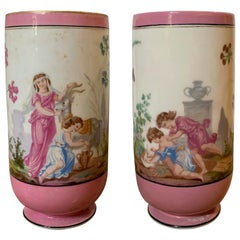 Pair of 19th Century English Pink and White Porcelain Vases
