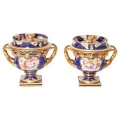 Pair of 19th Century English Porcelain Fruit Coolers with Covers