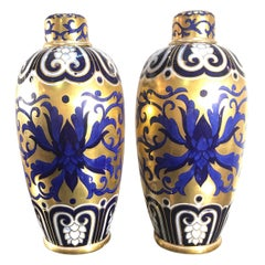 Pair of 19th Century English Porcelain Gilt and Cobalt Urns