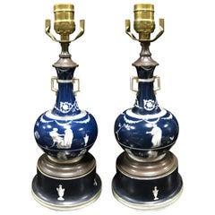 Pair of 19th Century English Porcelain Vases as Lamps, Custom Bases