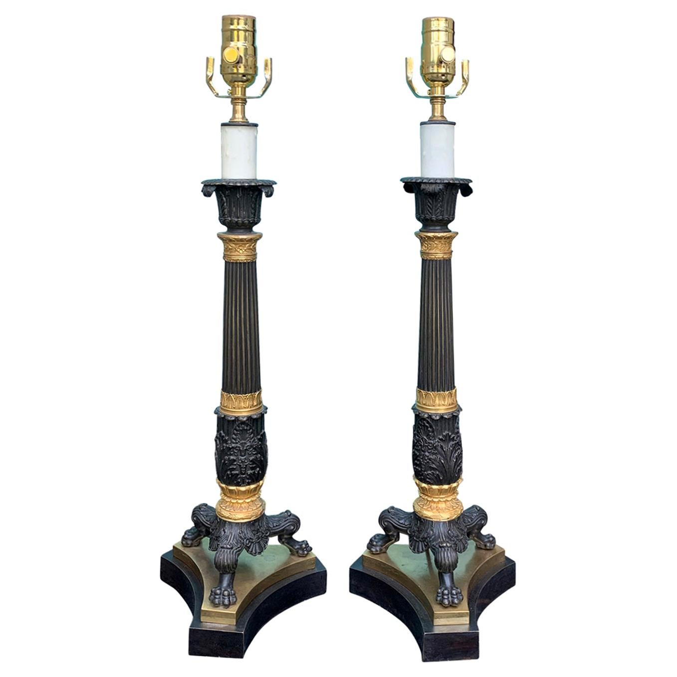 Pair of 19th Century English Regency Gilt and Bronze Candelabras as Lamps