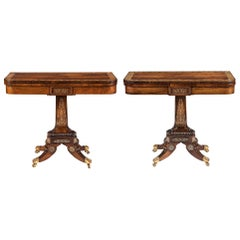 Pair of 19th Century English Regency Gonçalo Alves Card Tables with Brass Inlay
