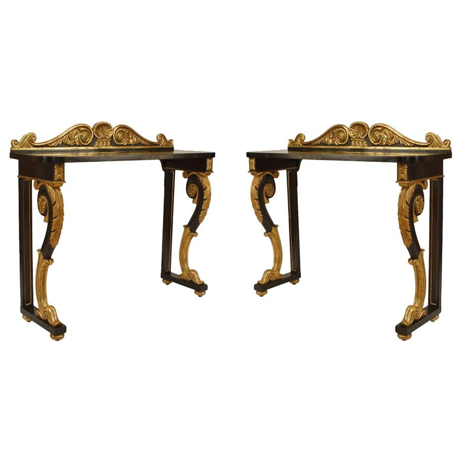 Pair of English Regency Ebonized and Gilt Console Table