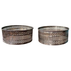 Pair of 19th Century English Regency Style Sheffield Silver Plate Wine Coasters