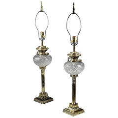 Pair of 19th Century English Sheffield Silver Plate & Cut Crystal Banquet Lamps