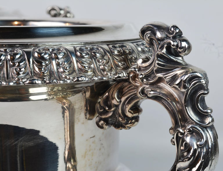 Pair of 19th Century English Sheffield Silver Plate Rococo Style Wine Coolers For Sale 7
