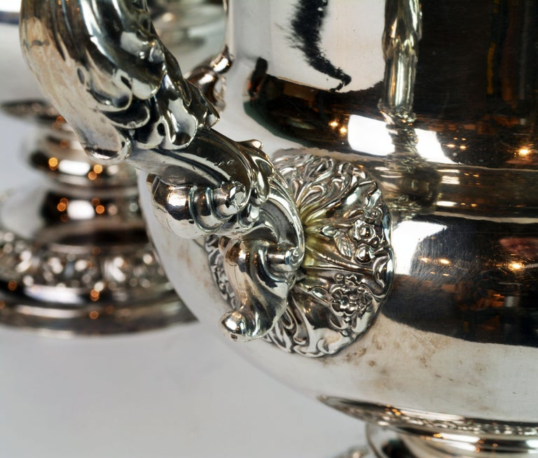 Pair of 19th Century English Sheffield Silver Plate Rococo Style Wine Coolers For Sale 8