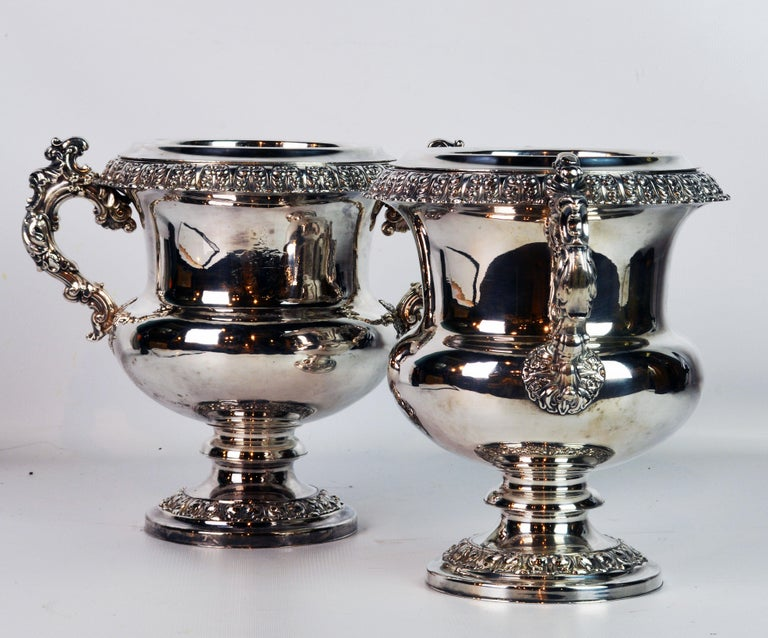 Pair of 19th Century English Sheffield Silver Plate Rococo Style Wine Coolers In Good Condition For Sale In Ft. Lauderdale, FL