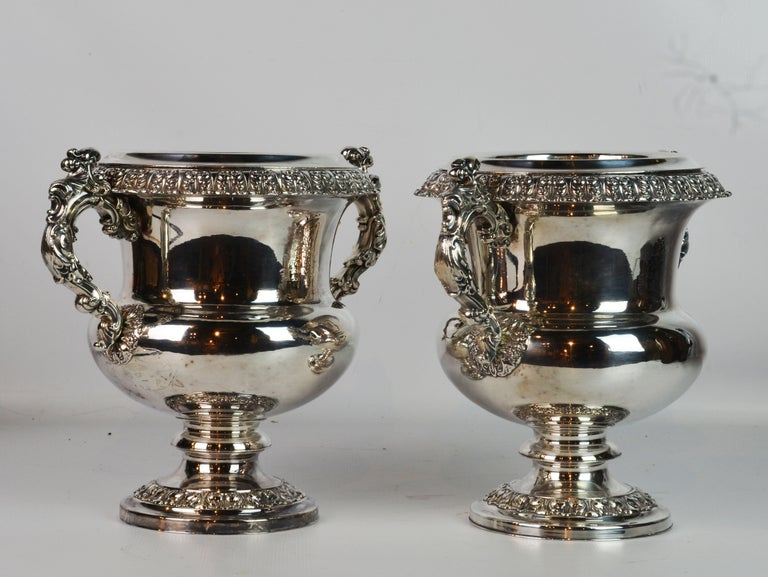Pair of 19th Century English Sheffield Silver Plate Rococo Style Wine Coolers For Sale 1