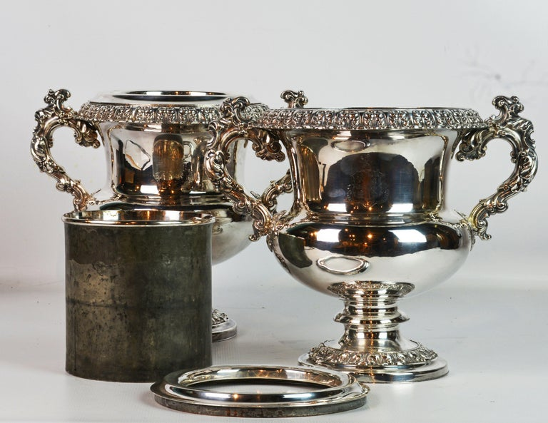 Pair of 19th Century English Sheffield Silver Plate Rococo Style Wine Coolers For Sale 2