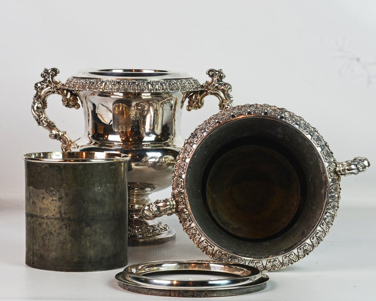 Pair of 19th Century English Sheffield Silver Plate Rococo Style Wine Coolers For Sale 3