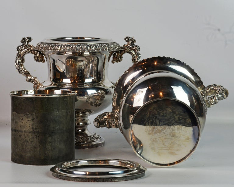 Pair of 19th Century English Sheffield Silver Plate Rococo Style Wine Coolers For Sale 4