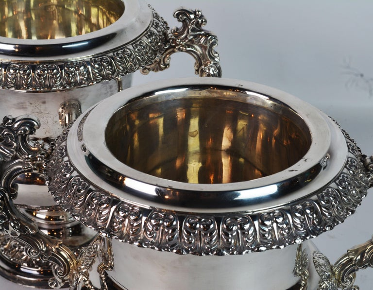 Pair of 19th Century English Sheffield Silver Plate Rococo Style Wine Coolers For Sale 5