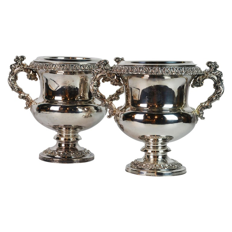 Pair of 19th Century English Sheffield Silver Plate Rococo Style Wine Coolers For Sale