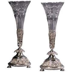 Pair of 19th Century English Silver-Plated and Cut-Glass Vases