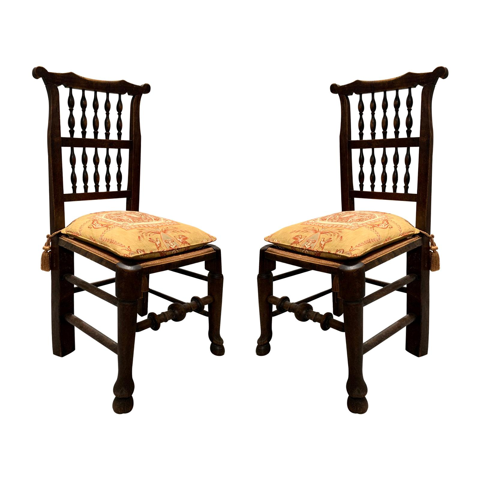 Pair of 19th Century English Spindle Back Side Chairs, Rush Seats and Cushions