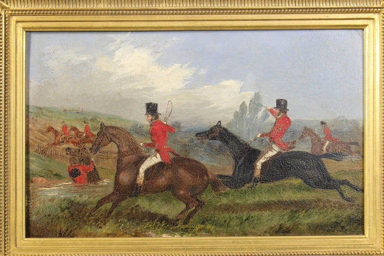 A fantastic pair of mid-19th century English oil on board fox hunting paintings by noted portrait and animal painter Richard Dodd Widdas (British, 1826-1885) beautifully displayed in later custom giltwood frames.
