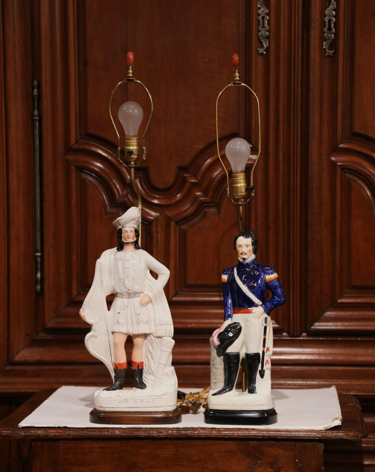 French Pair of 19th Century English Staffordshire Ceramic Figures Made into Table Lamps For Sale