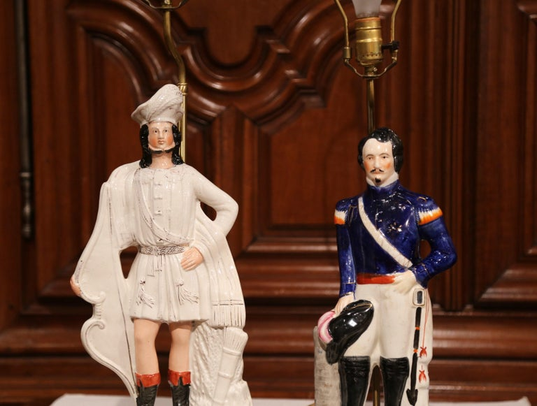 Hand-Crafted Pair of 19th Century English Staffordshire Ceramic Figures Made into Table Lamps For Sale