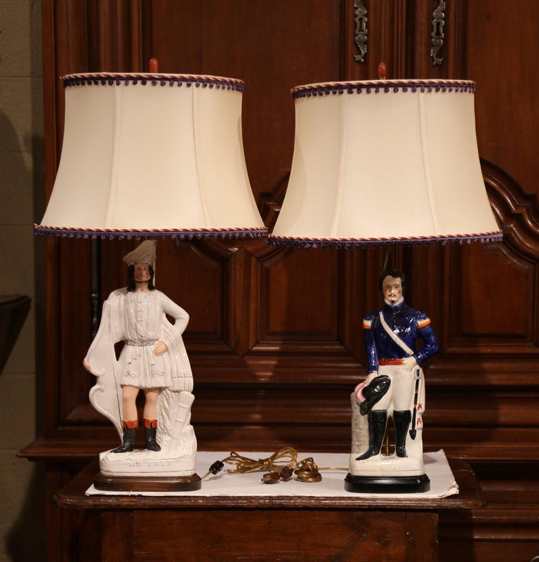 Pair of 19th Century English Staffordshire Ceramic Figures Made into Table Lamps In Excellent Condition For Sale In Dallas, TX