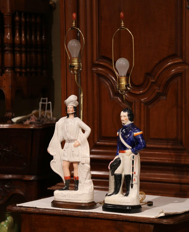 Porcelain Pair of 19th Century English Staffordshire Ceramic Figures Made into Table Lamps For Sale