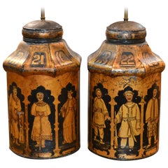 Pair of 19th Century English Tea Can Lamps