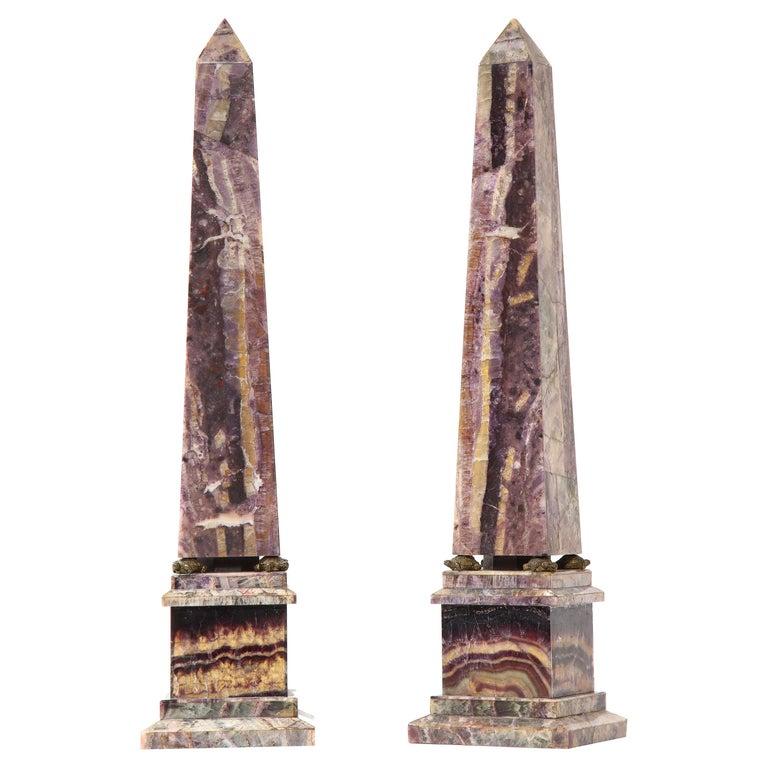 Pair of 19th Century English Turtle-Form Ormolu Mnt. Blue John Obelisks For Sale