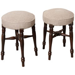 Pair of 19th Century English Upholstered Mahogany Stools