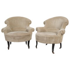 Pair of 19th Century English Upholstered Tub Chairs