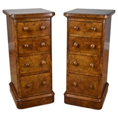 Pair of 19th Century English Victorian Burr Walnut Bedside Chests