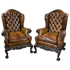 Pair of 19th Century English Victorian Hand Dyed Leather Wing Back Armchairs