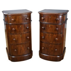 Pair of 19th Century English Victorian Mahogany Bow Front Chests