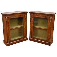 Pair of 19th Century English Victorian Walnut Pier Cabinets