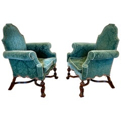 Pair of 19th Century English Walnut Jacobean Style Upholstered Armchairs