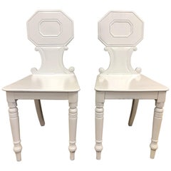 Pair of 19th Century English White Lacquered Hall Chairs