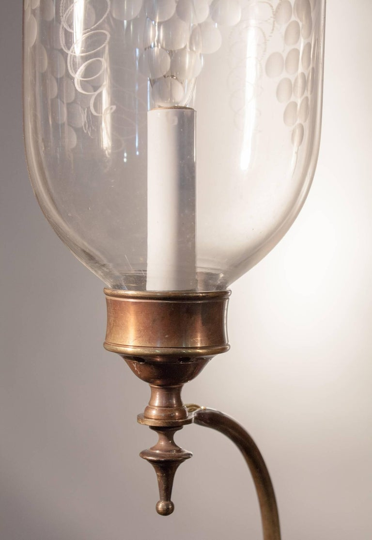 Pair of 19th Century Etched Hurricane Shade Wall Sconces For Sale 1