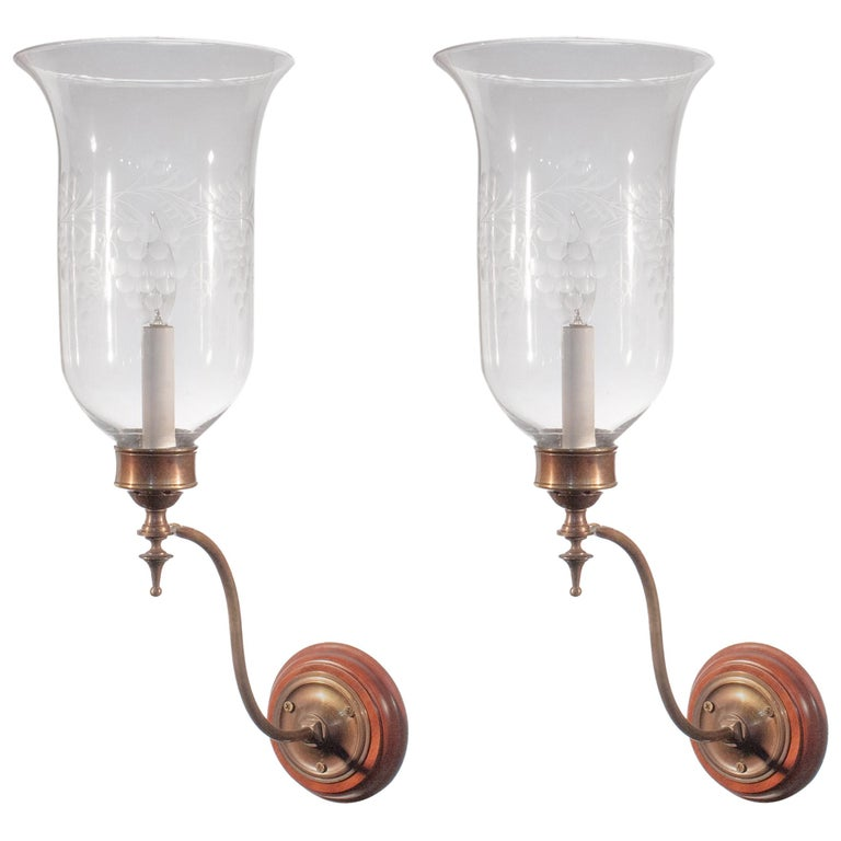 Pair of 19th Century Etched Hurricane Shade Wall Sconces For Sale