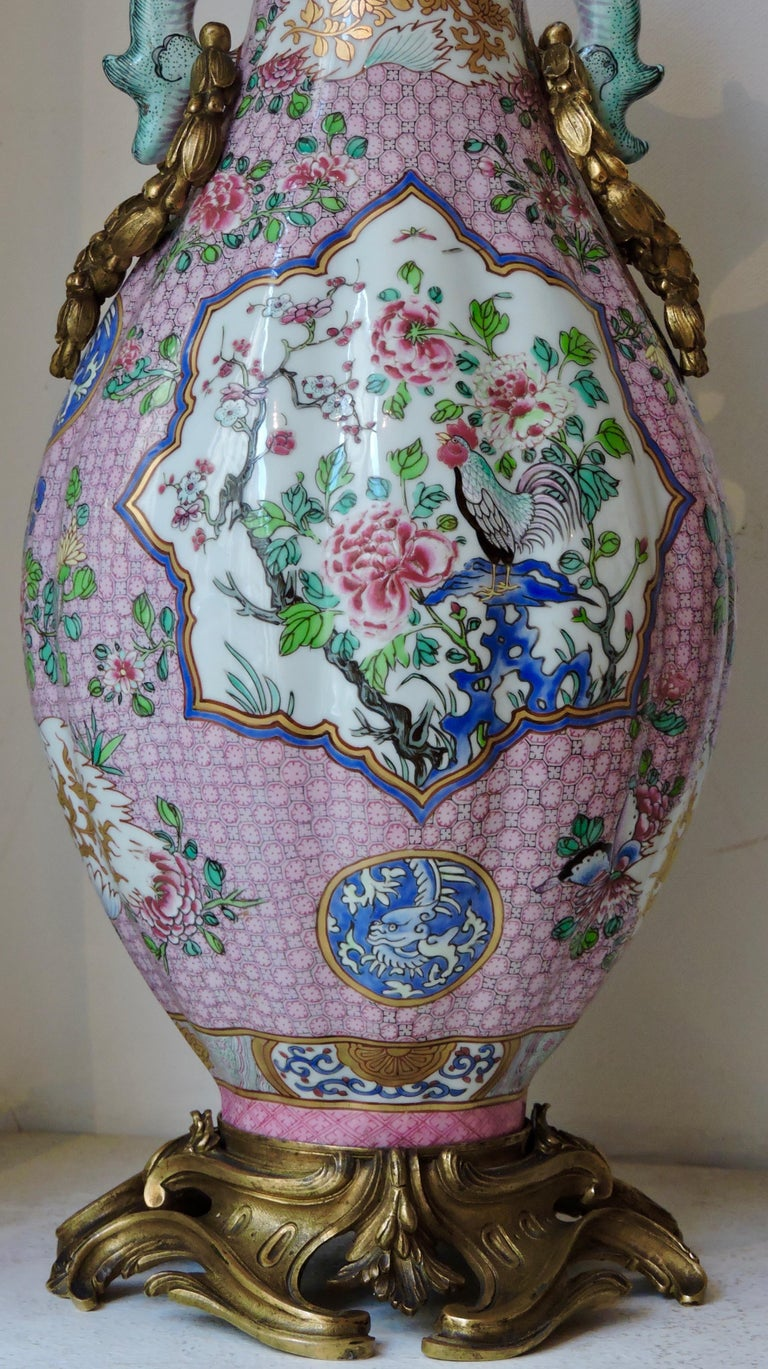 Pair of 19th Century Famille Rose Porcelain and Ormolu-Mounted Vases For Sale 5