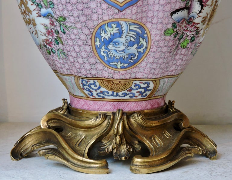 Pair of 19th Century Famille Rose Porcelain and Ormolu-Mounted Vases For Sale 10