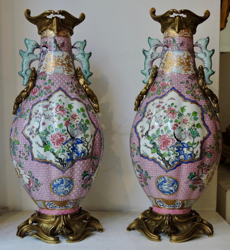 Pair of 19th century famille rose export porcelain and ormolu-mounted vases.