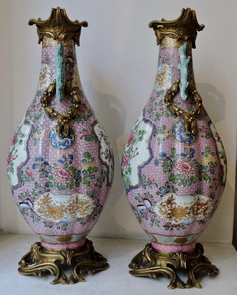 Late 19th Century Pair of 19th Century Famille Rose Porcelain and Ormolu-Mounted Vases For Sale