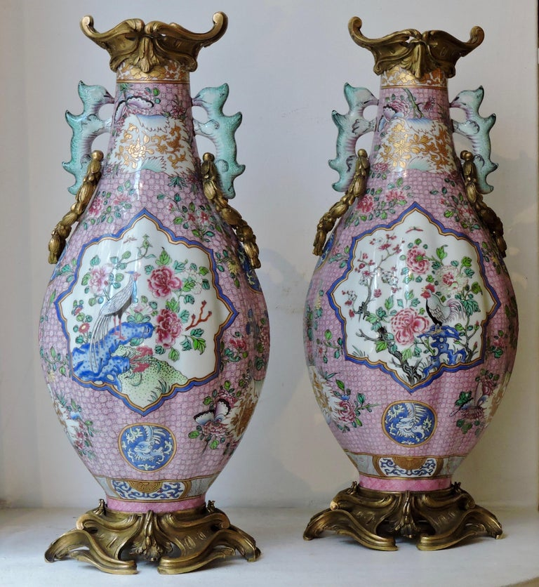 Pair of 19th Century Famille Rose Porcelain and Ormolu-Mounted Vases For Sale 1