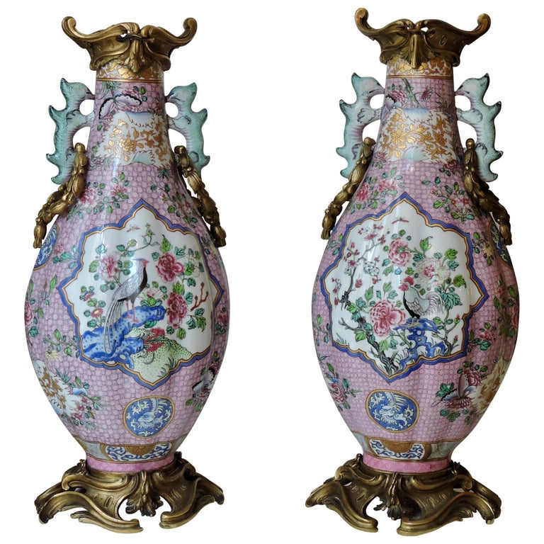 Pair of 19th Century Famille Rose Porcelain and Ormolu-Mounted Vases For Sale