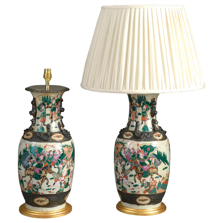 Pair of 19th Century Famille Verte Vase Lamps