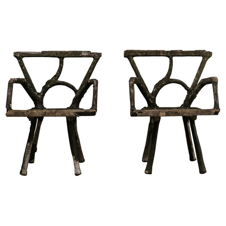 Pair of 19th Century Faux Bois Armchairs For Sale