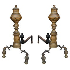 Pair of 19th Century Federal Style Brass Andirons