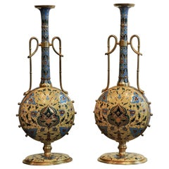 Pair of 19th Century Ferdinand Barbedienne Cloisonné Enamel Vases